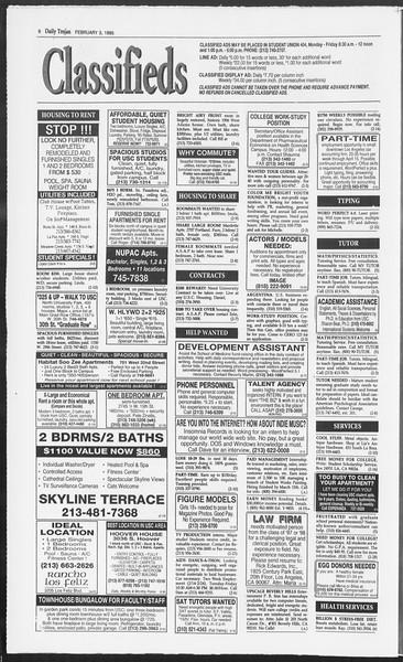Daily Trojan, Vol. 124, No. 15, February 03, 1995