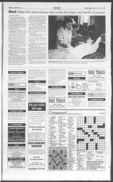 Daily Trojan, Vol. 144, No. 11, September 13, 2001
