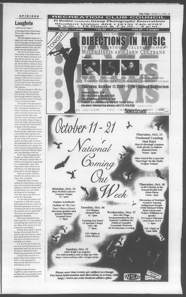Daily Trojan, Vol. 144, No. 31, October 11, 2001