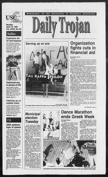 Daily Trojan, Vol. 124, No. 53, April 10, 1995