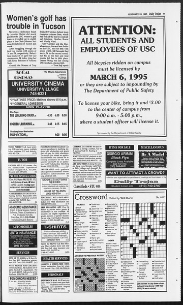 Daily Trojan, Vol. 124, No. 30, February 28, 1995