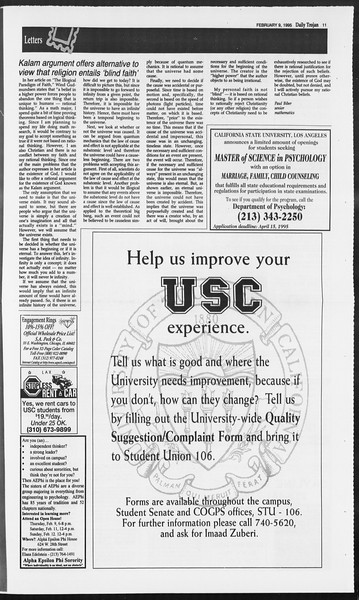 Daily Trojan, Vol. 124, No. 19, February 09, 1995