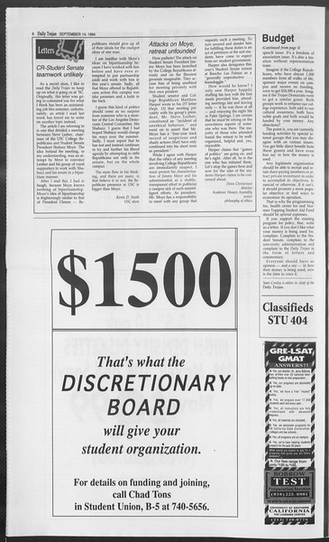 Daily Trojan, Vol. 123, No. 9, September 14, 1994