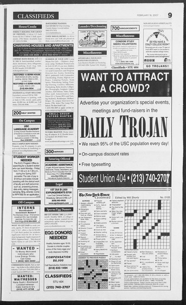 Daily Trojan, Vol. 160, No. 27, February 16, 2007