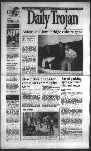 Daily Trojan, Vol. 135, No. 16, September 25, 1998