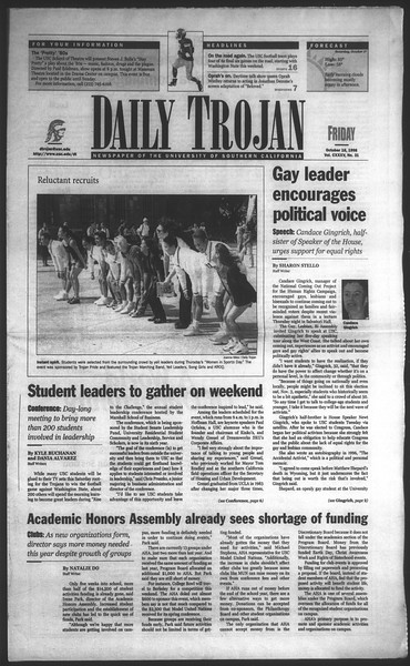 Daily Trojan, Vol. 135, No. 31, October 16, 1998