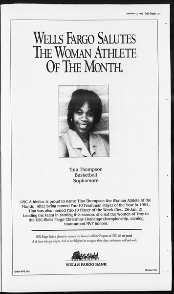 Daily Trojan, Vol. 124, No. 1, January 12, 1995