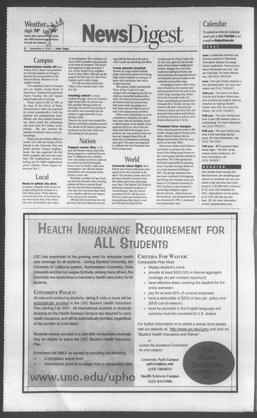 Daily Trojan, Vol. 144, No. 6, September 06, 2001