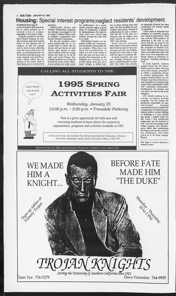 Daily Trojan, Vol. 124, No. 8, January 25, 1995