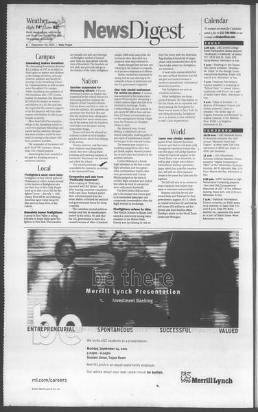 Daily Trojan, Vol. 144, No. 16, September 20, 2001