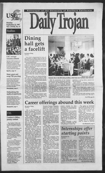 Daily Trojan, Vol. 132, No. 17, September 22, 1997