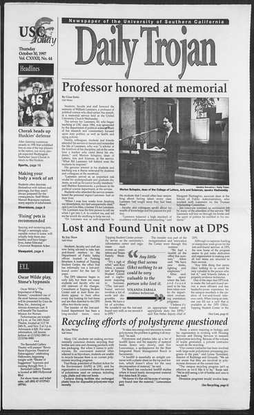 Daily Trojan, Vol. 132, No. 44, October 30, 1997