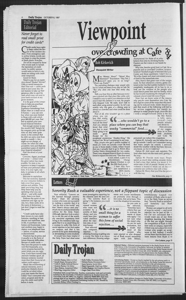 Daily Trojan, Vol. 132, No. 26, October 06, 1997