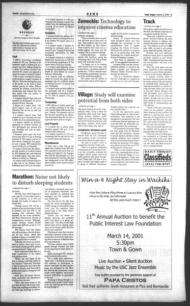 Daily Trojan, Vol. 142, No. 35, March 02, 2001