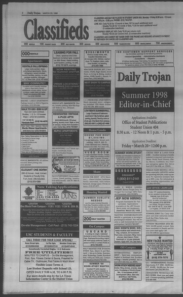 Daily Trojan, Vol. 133, No. 41, March 20, 1998