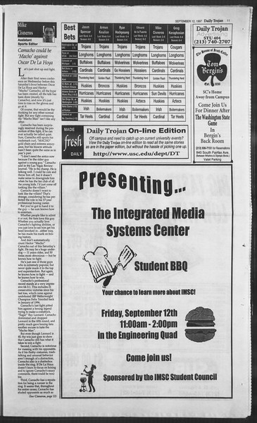 Daily Trojan, Vol. 132, No. 11, September 12, 1997