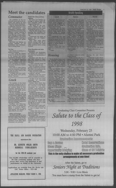 Daily Trojan, Vol. 133, No. 31, February 25, 1998