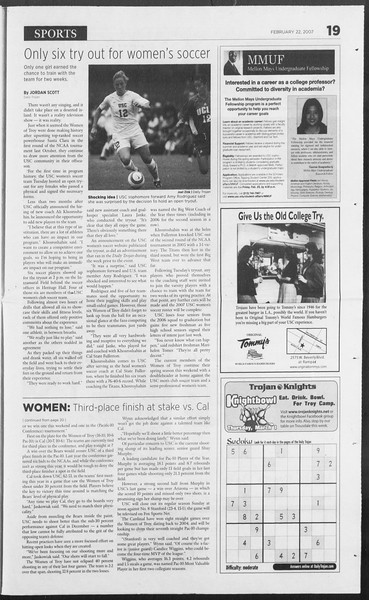 Daily Trojan, Vol. 160, No. 29, February 22, 2007