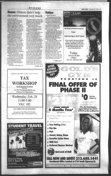 Daily Trojan, Vol. 142, No. 33, February 28, 2001