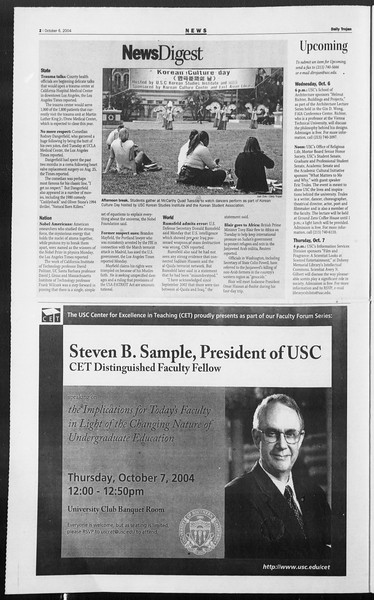 Daily Trojan, Vol. 153, No. 30, October 06, 2004