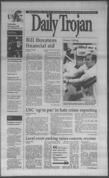 Daily Trojan, Vol. 133, No. 18, February 04, 1998