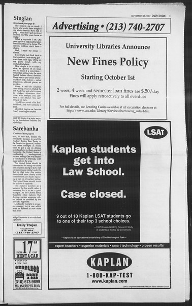 Daily Trojan, Vol. 132, No. 20, September 25, 1997