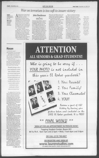 Daily Trojan, Vol. 144, No. 54, November 14, 2001