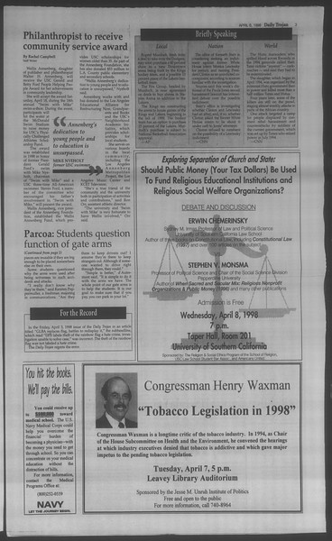 Daily Trojan, Vol. 133, No. 52, April 06, 1998