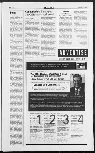 Daily Trojan, Vol. 153, No. 22, September 23, 2004