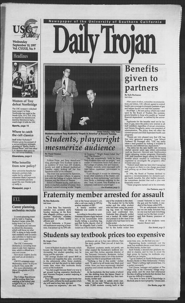 Daily Trojan, Vol. 132, No. 9, September 10, 1997