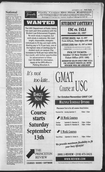 Daily Trojan, Vol. 132, No. 8, September 09, 1997