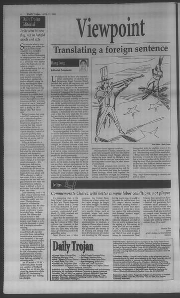 Daily Trojan, Vol. 133, No. 61, April 17, 1998