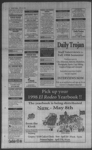Daily Trojan, Vol. 133, No. 64, April 22, 1998