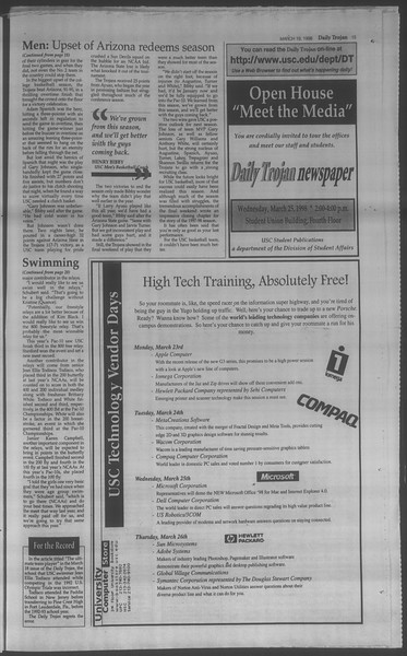 Daily Trojan, Vol. 133, No. 40, March 19, 1998