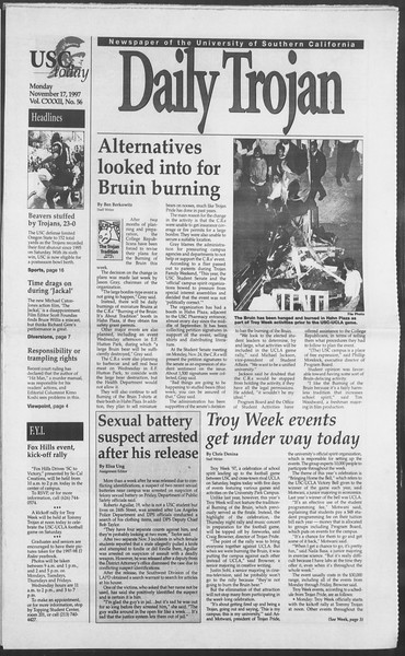 Daily Trojan, Vol. 132, No. 56, November 17, 1997