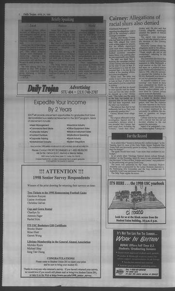 Daily Trojan, Vol. 133, No. 66, April 24, 1998