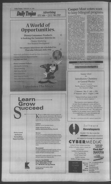 Daily Trojan, Vol. 133, No. 26, February 18, 1998