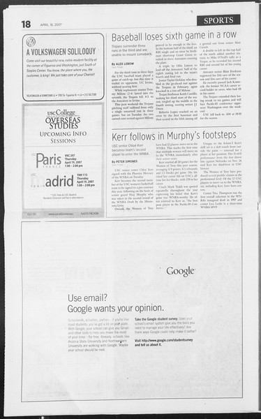 Daily Trojan, Vol. 160, No. 61, April 18, 2007