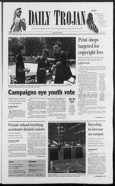 Daily Trojan, Vol. 153, No. 4, August 26, 2004