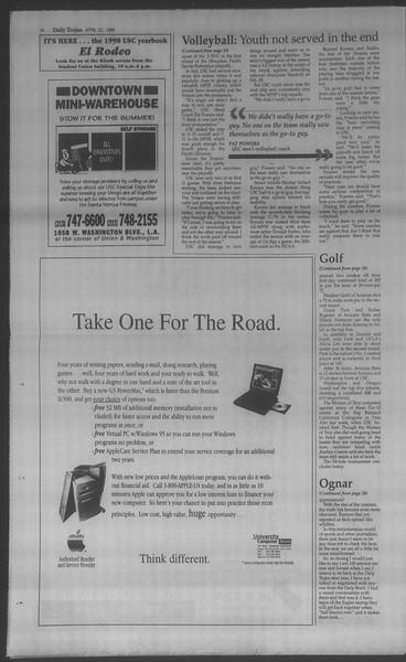 Daily Trojan, Vol. 133, No. 64, April 22, 1998