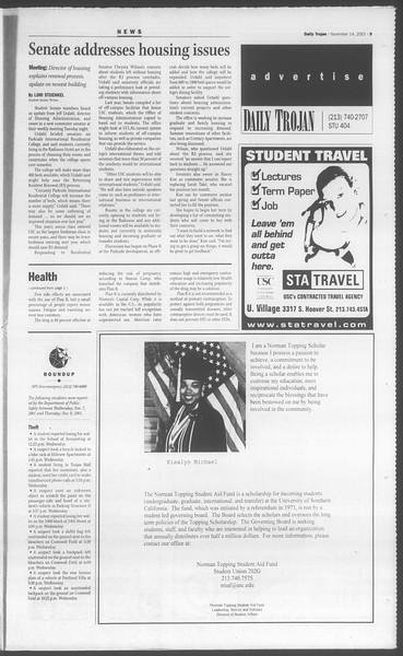 Daily Trojan, Vol. 144, No. 54, November 14, 2001