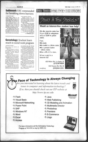 Daily Trojan, Vol. 142, No. 4, January 12, 2001