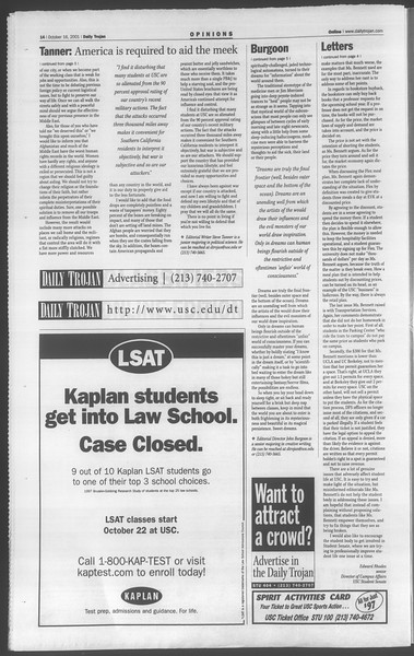 Daily Trojan, Vol. 144, No. 34, October 16, 2001