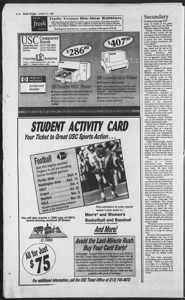 Daily Trojan, Vol. 132, No. 1, August 21, 1997