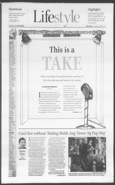 Daily Trojan, Vol. 144, No. 40, October 24, 2001
