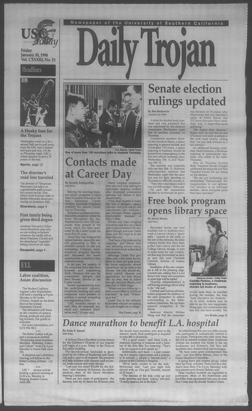 Daily Trojan, Vol. 133, No. 15, January 30, 1998