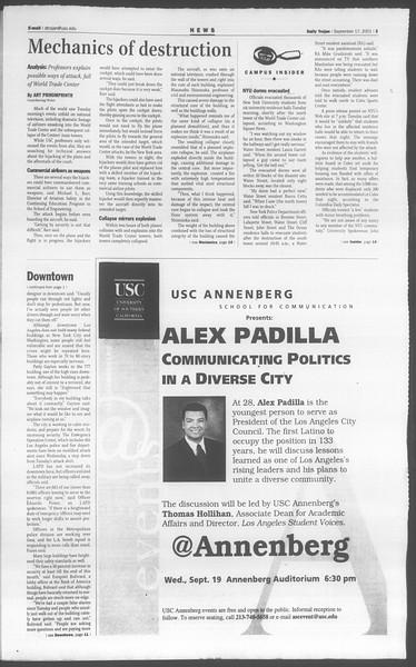 Daily Trojan, Vol. 144, No. 13, September 17, 2001