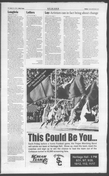 Daily Trojan, Vol. 144, No. 4, August 31, 2001