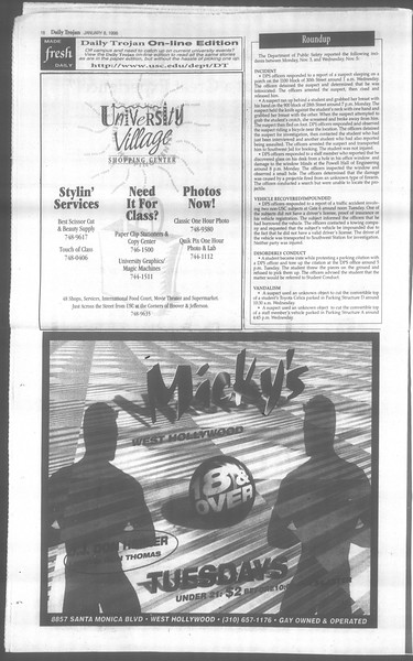 Daily Trojan, Vol. 133, No. 1, January 08, 1998