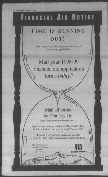 Daily Trojan, Vol. 133, No. 23, February 11, 1998